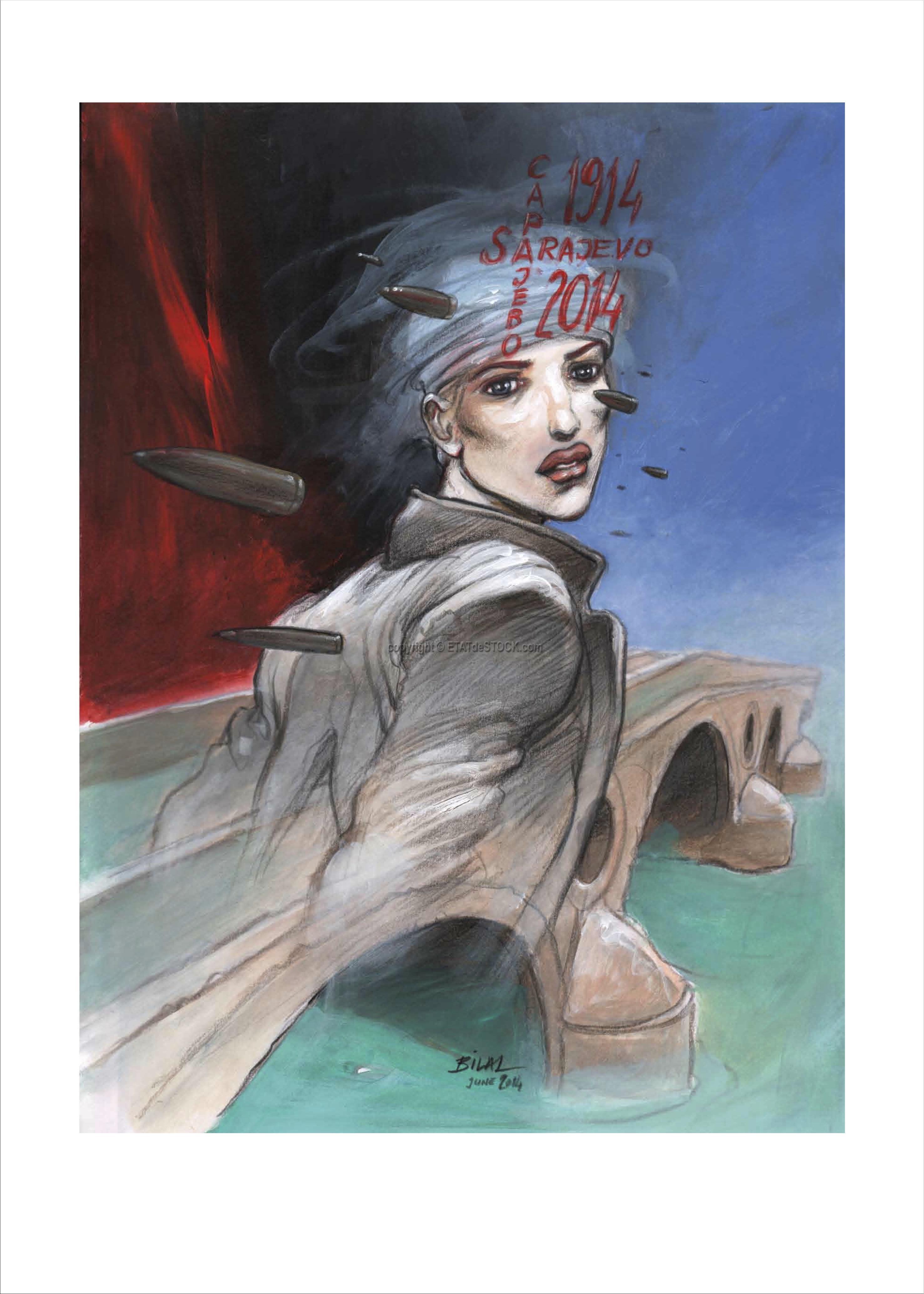 Enki Bilal Sarajevo 2014 Affiche  U00e9dition D U0026 39 Art Papier